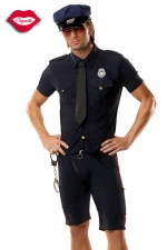 Costume Policeman : Costume 5 pièces de Policier : chemise et cravate, short, ceinture, casquette et menottes.