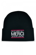 Bonnet Jacquie et Michel - noir : Le meilleur moyen de se faire remarquer sur les pistes?  Porter un bonnet Jacquie et Michel!
