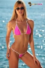 Maillot string Palm Beach : Mini maillot string en lycra, le bikini sexy indispensable.