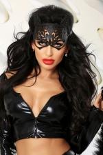Kitty - masque de chat faux cuir : Masque de chat en faux cuir ciselé qui donne du mystère au regard.