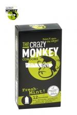 12 Préservatifs Crazy Monkey Menthe Fraiche : 12 préservatifs verts, gout menthe, cylindriques, lisses et lubrifiés, par Crazy Monkey.